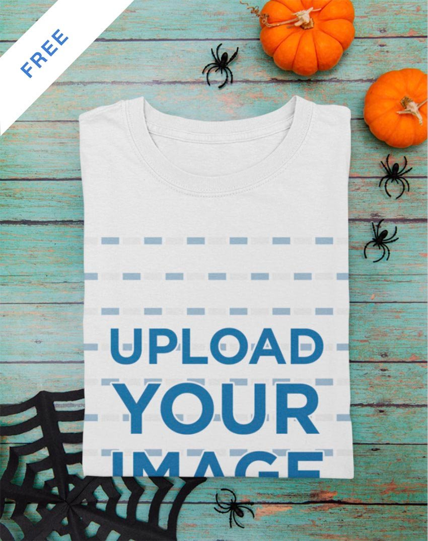 Mockup of a Folded T-Shirt Featuring Halloween Decor Items