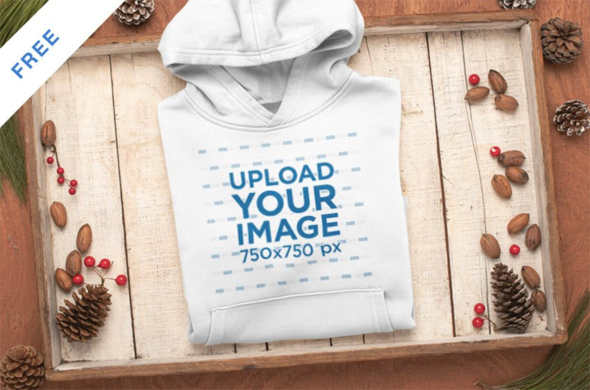 Christmas Mockup of a Folded Pullover Hoodie