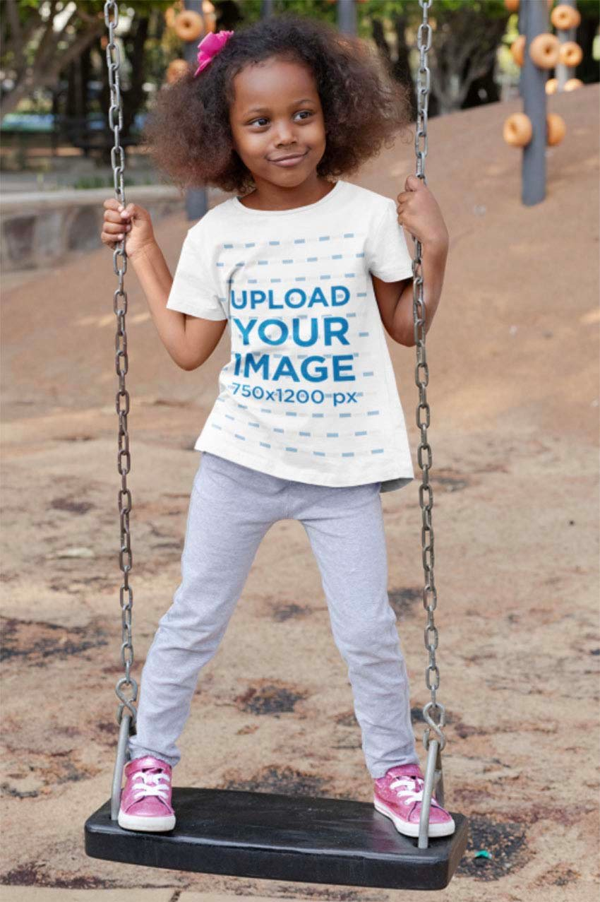 Child T-Shirt Mockup of a Girl on a Swing