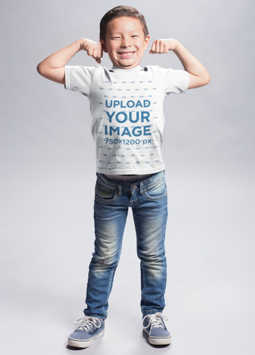 Child Shirt Mockup with Boy Flexing his Biceps