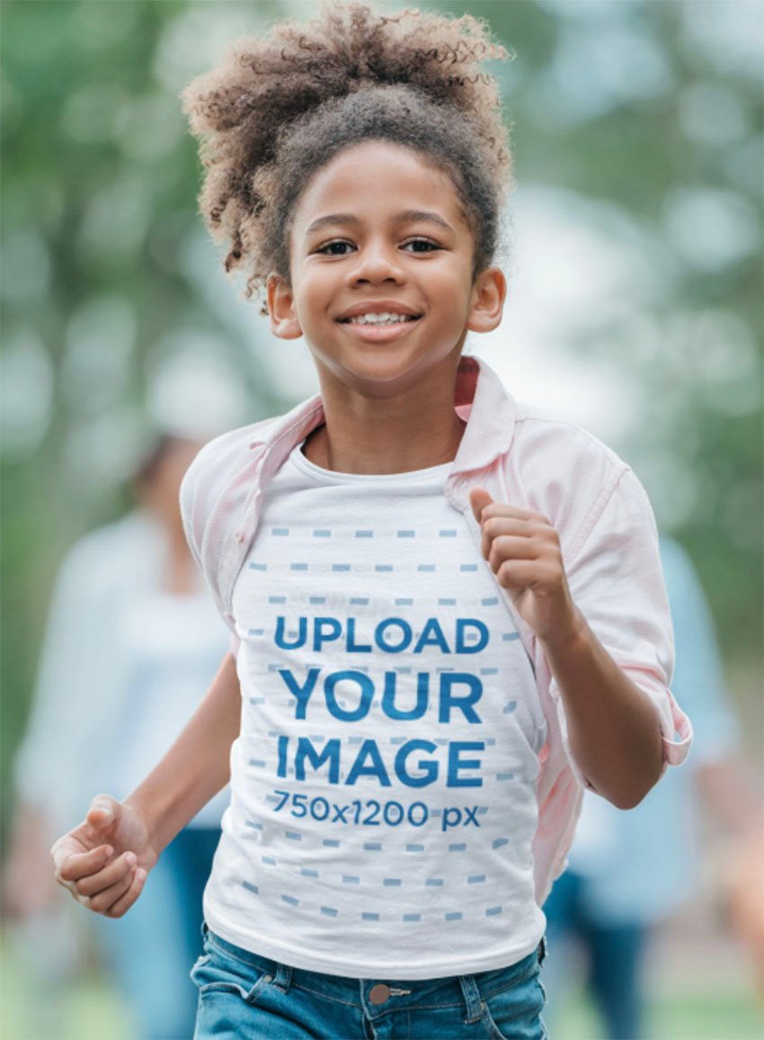 Youth T-Shirt Mockup of a Smiling Girl Running