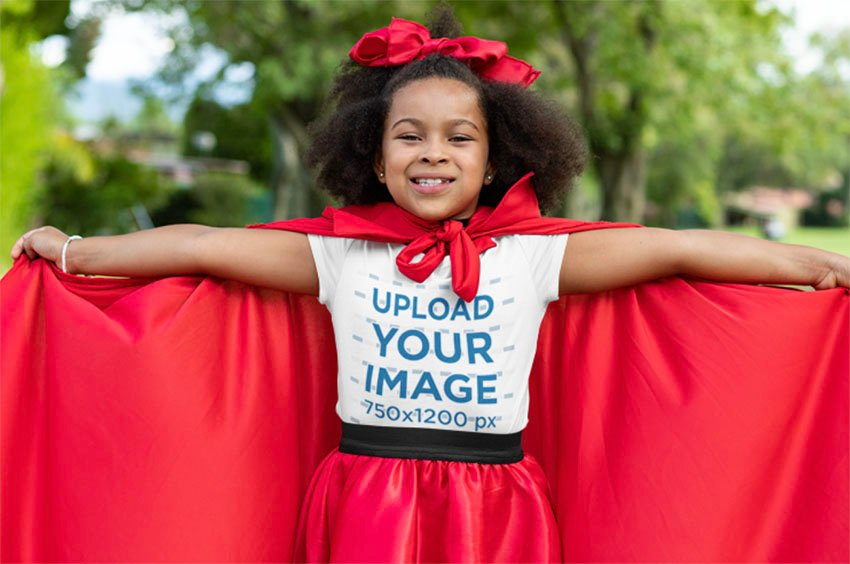 Youth T-Shirt Mockup Featuring a Girl with a Red Cape for Halloween