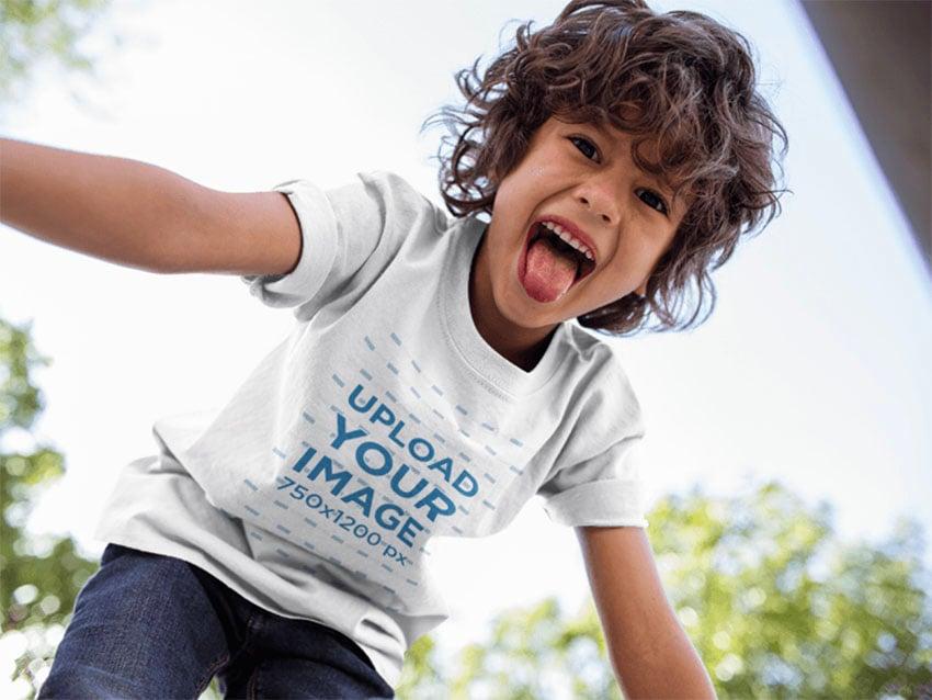 Youth Shirt Mockup with Kid at Park
