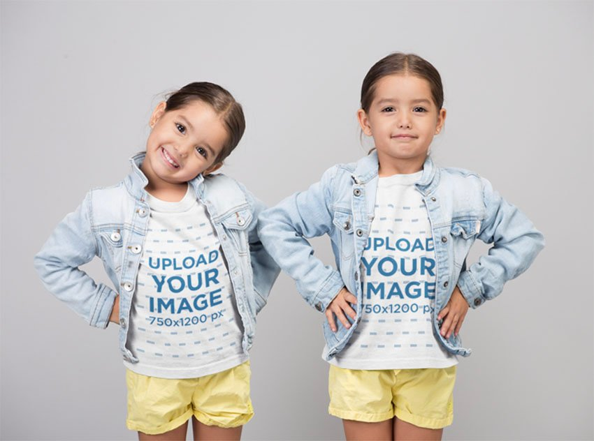 Kids White T-Shirt Mockup Featuring Twin Sisters