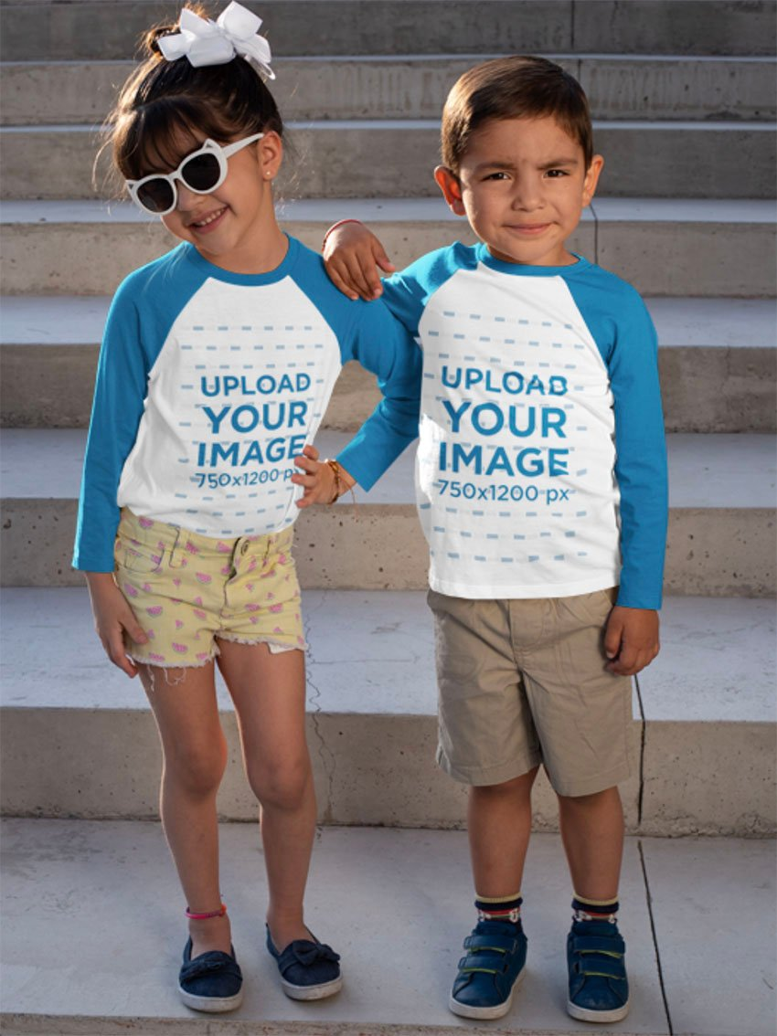 T-Shirt Kid Mockup with Two Little Kids in Raglan T-Shirts