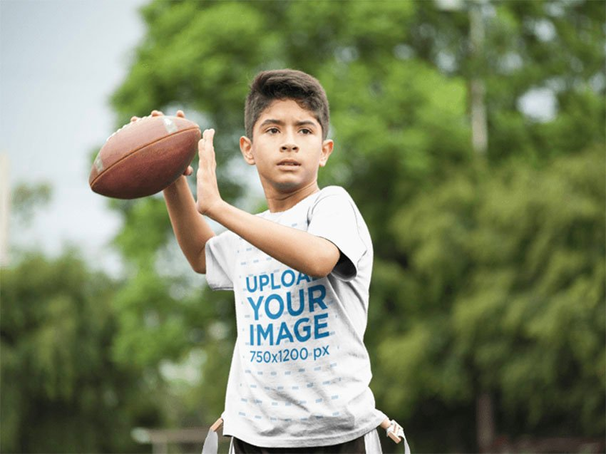 Kids Shirt Mockup with Boy Throwing the Ball