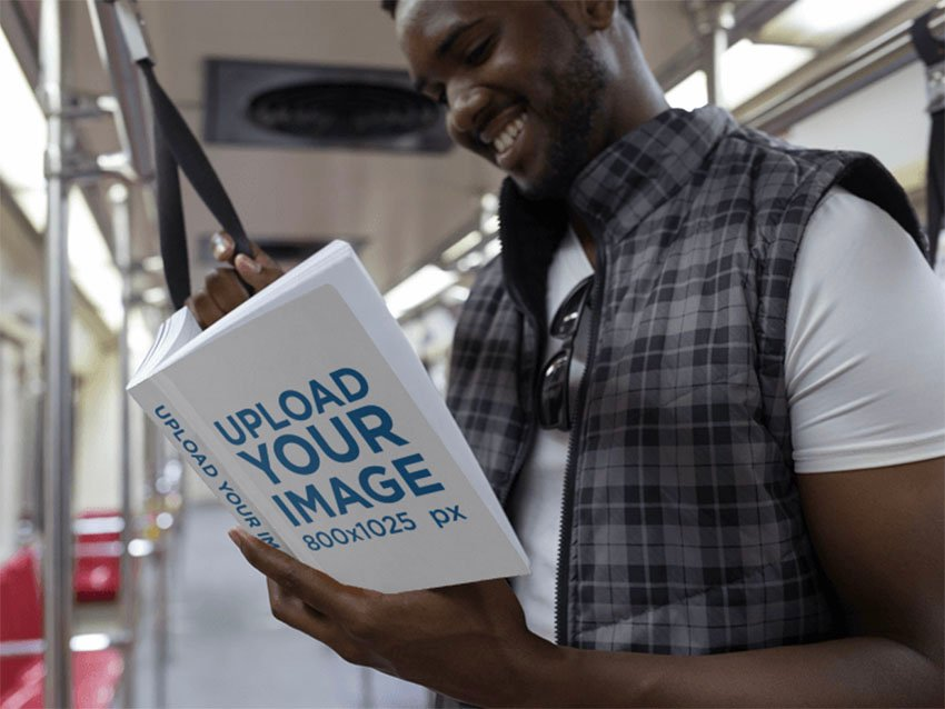 Book Cover Mockup of a Young Man Reading a Paperback on the Metro