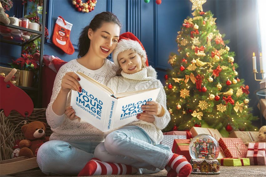 Hardcover Book Mockup of Mother and Daughter Reading