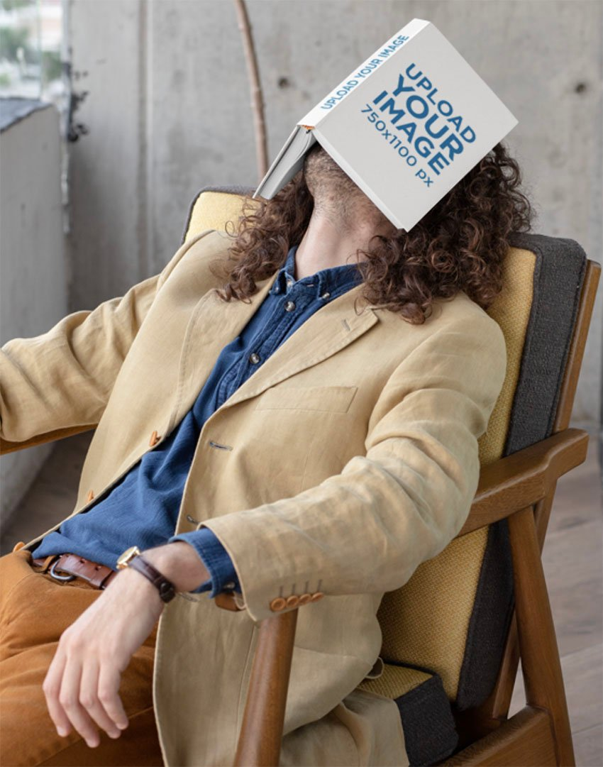 Book Cover Mockup of a Man Sleeping with a Book on His Face