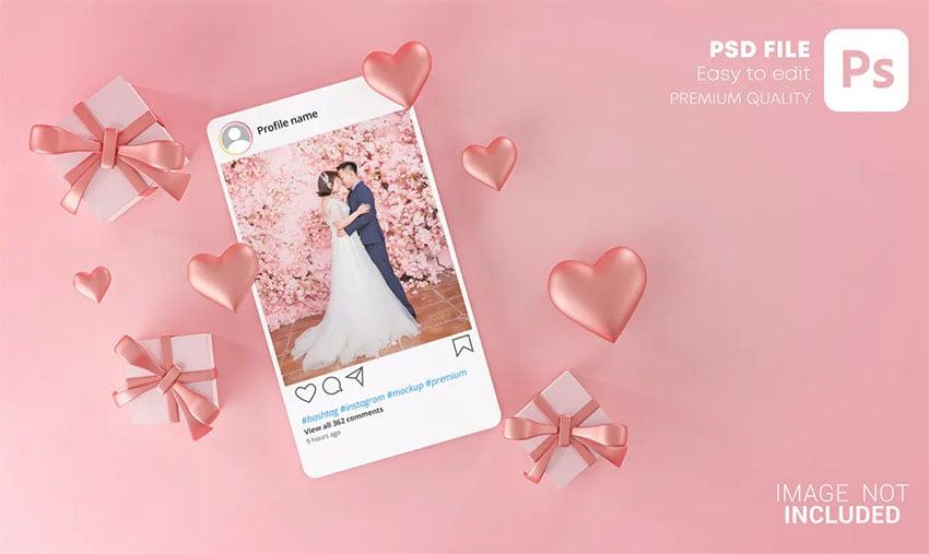 Instagram Post Mockup Template Valentine Wedding