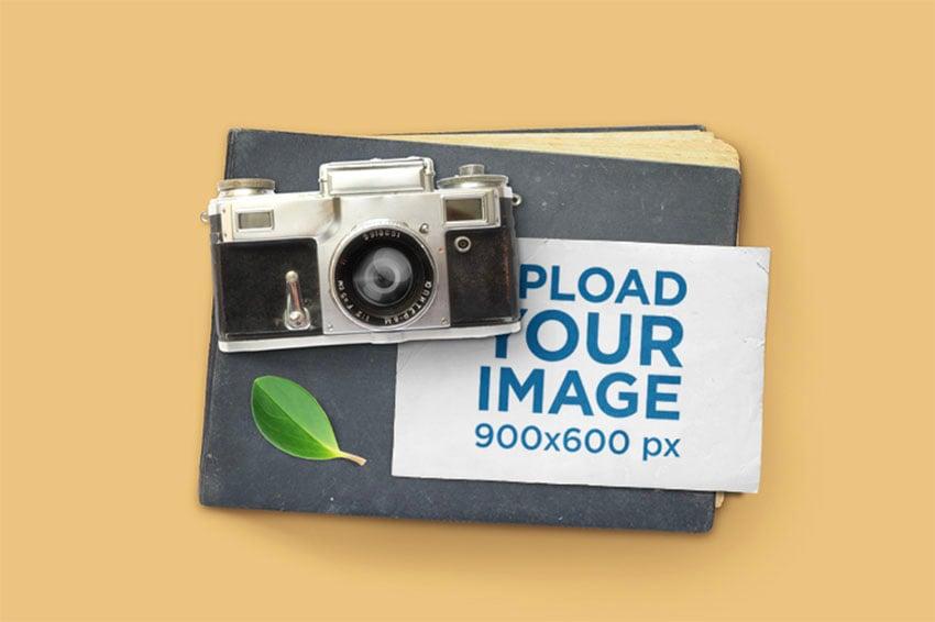Notecard Mockup Featuring a Vintage Camera