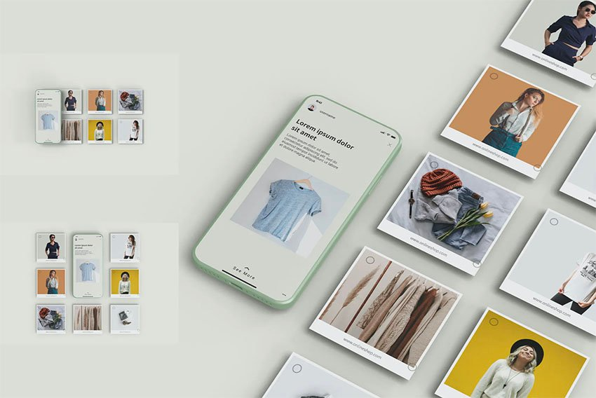 Instagram Post Mockup with Phone