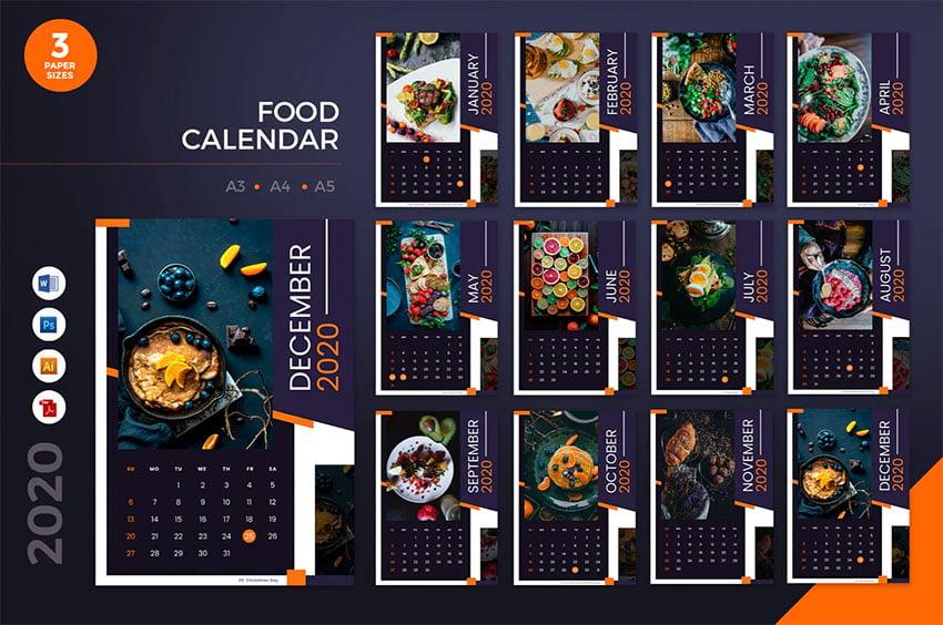 Restaurant Editable Yearly Calendar