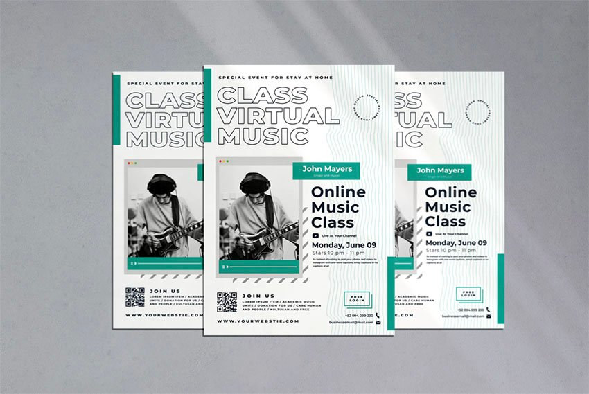 Virtual Music School Flyer Designs