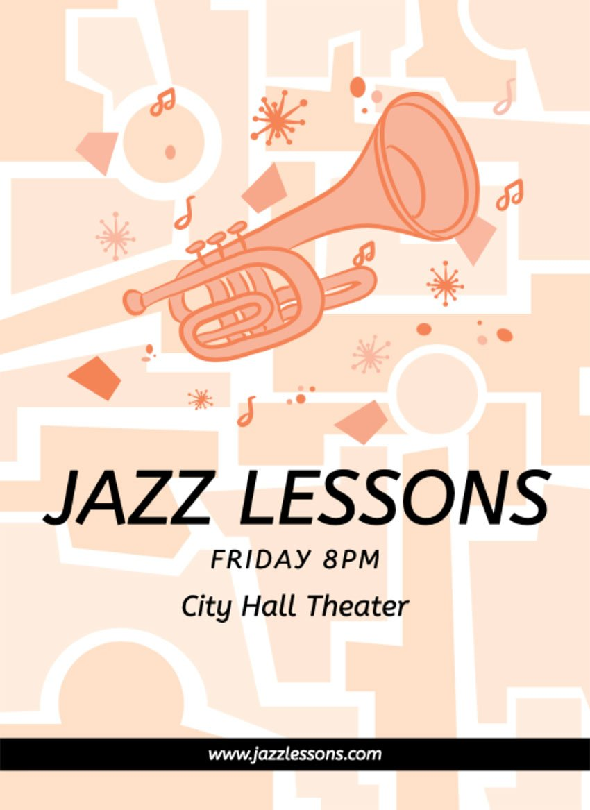 Jazz Music Lesson Flyer Examples