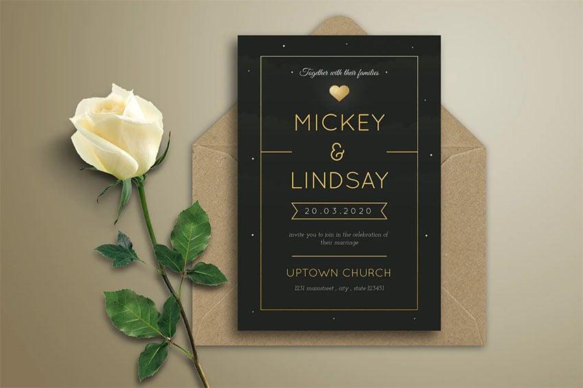 Simple Black Wedding Invitation