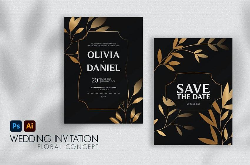 Floral Black and Gold Wedding Invitation