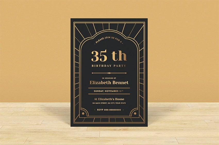 Black and Gold Birthday Invitation Template