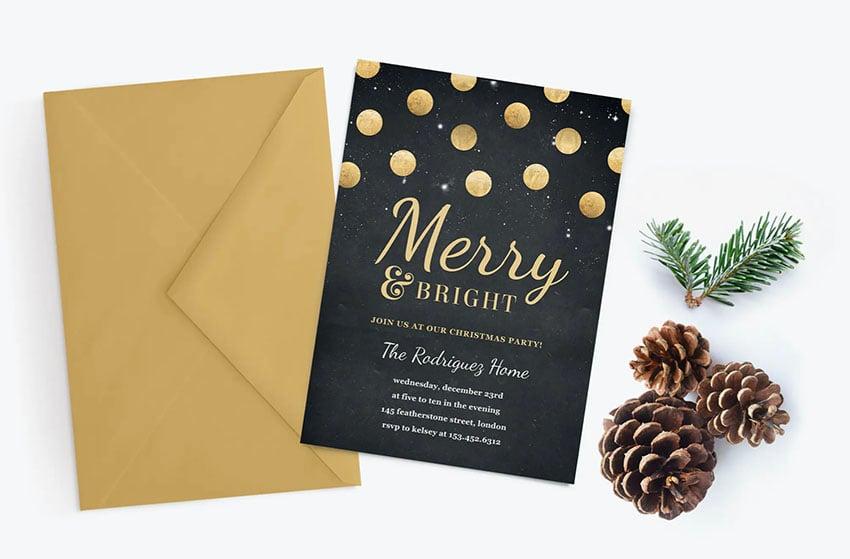 Black and Gold Confetti Christmas Party Invitation