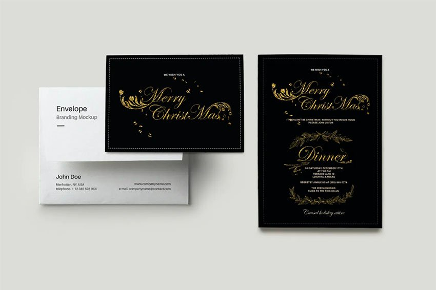 Black and Gold Christmas Invitation Template