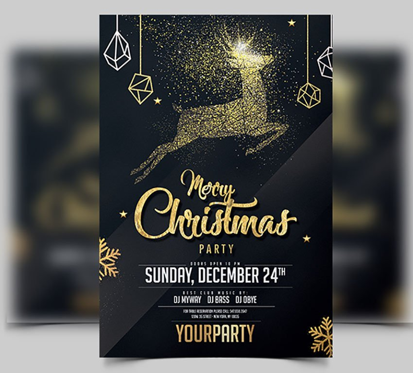 Christmas Black and Gold Invitation Template