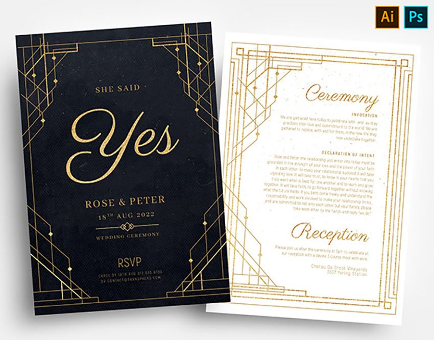 Art Deco Inspired Black and Gold Invitation Templates