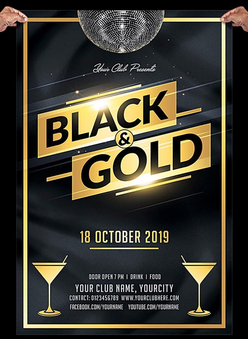 Black and Gold Invitation Templates