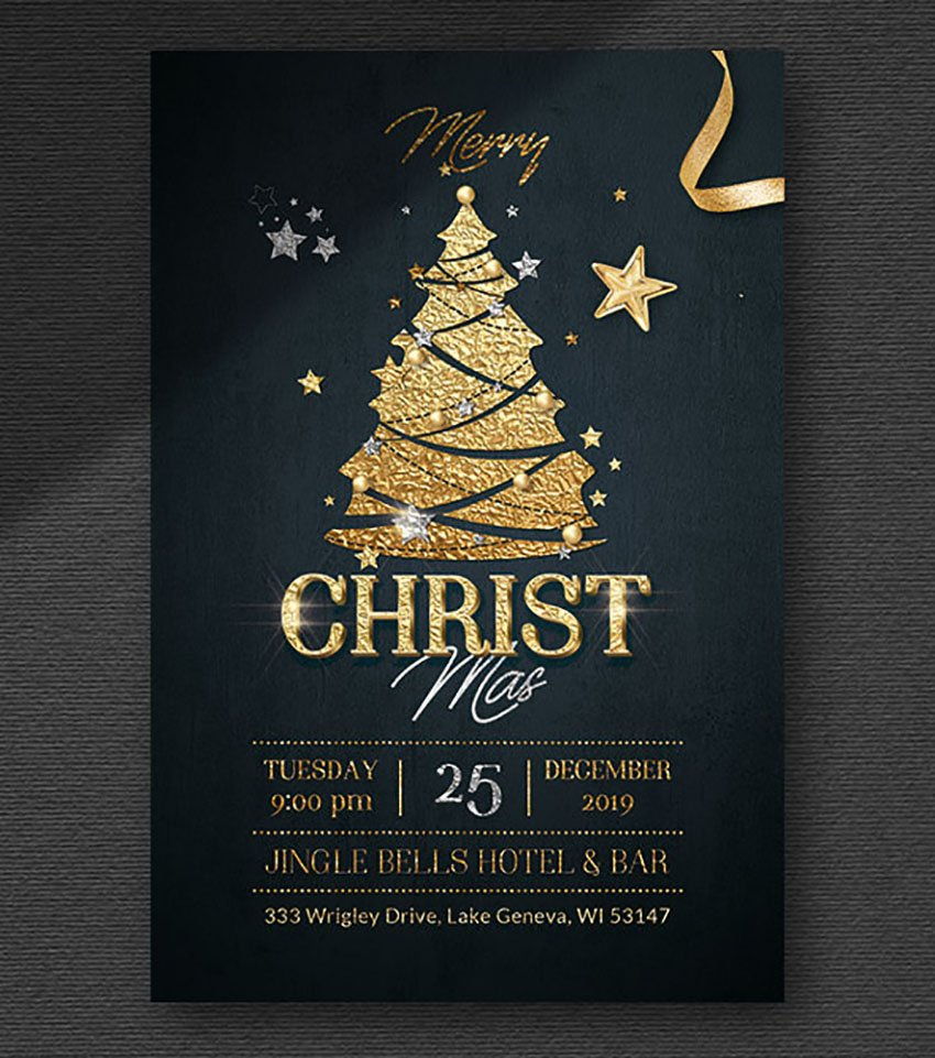 Christmas Party Black and Gold Design