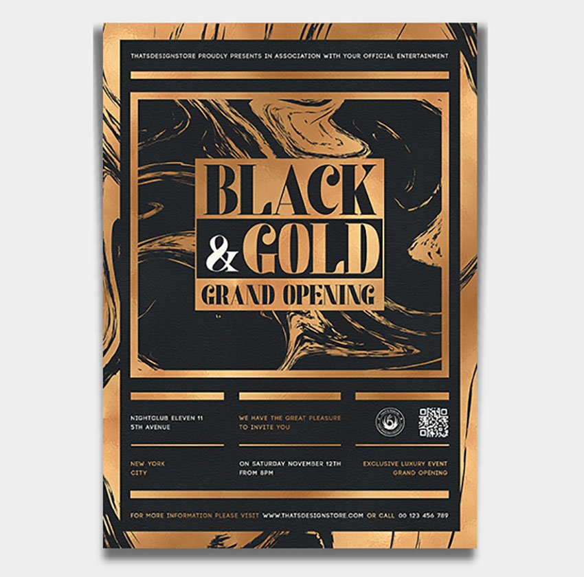 Black and Gold Blank Invitation Template