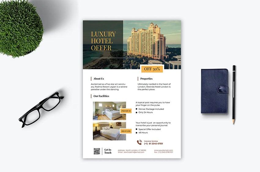 Hotel Pamphlet Brochure (AI, EPS, PSD)