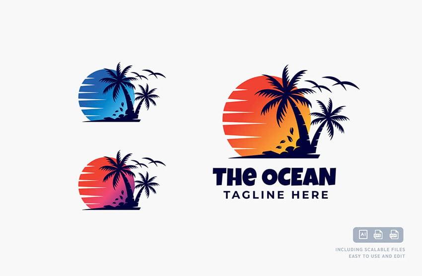 Palm Tree Sunset Logo Name