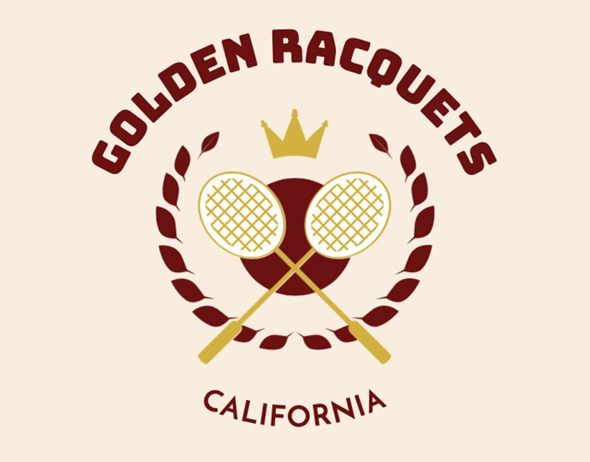Small Gold Crown Logo with Racquets
