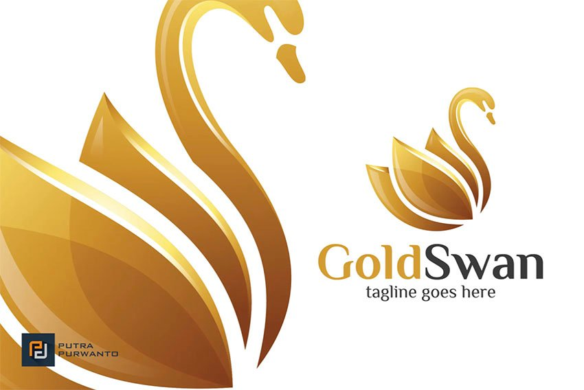 Swan All Gold Logo Template