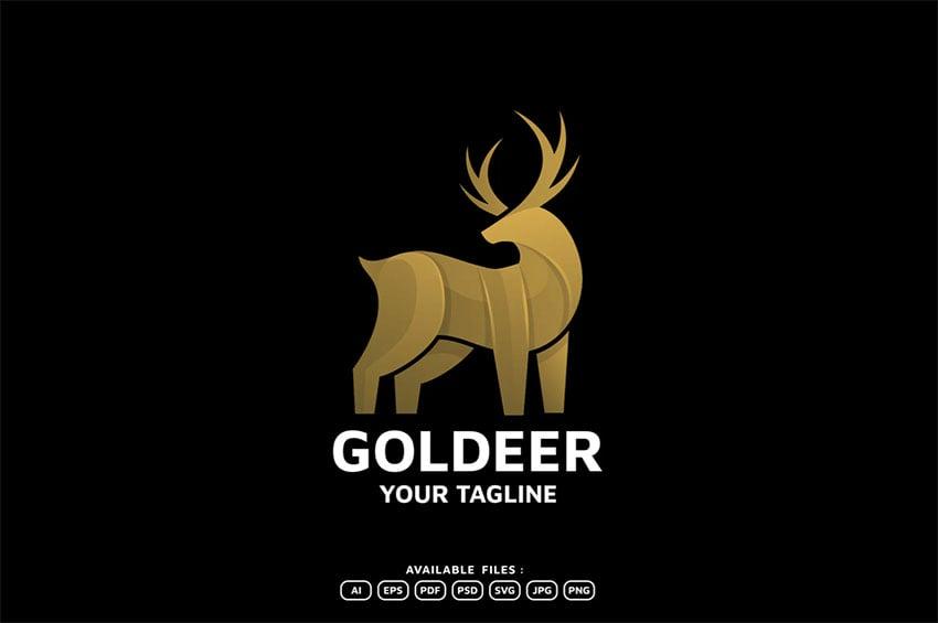 Deer Gold Black Logo Design