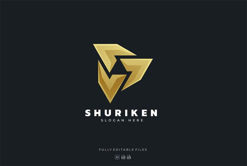Shuriken Color Gradient Gold Logo Design