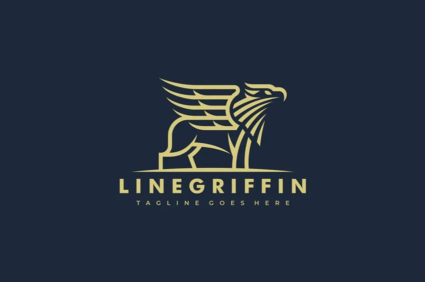 Griffin Lineart Black and Gold Logo Template