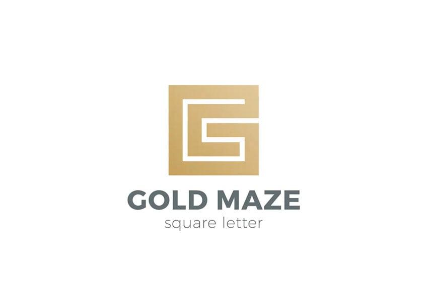 Labyrinth Maze All Gold Logo