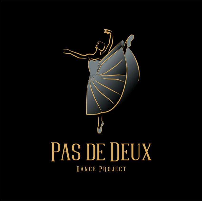 Ballet Gold Black Logo Design