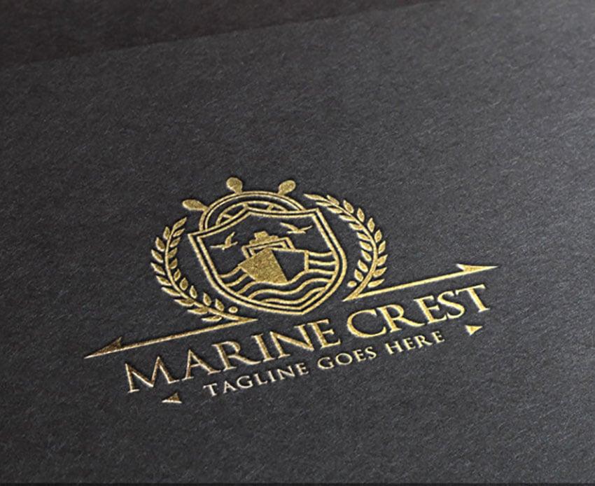 Marine Crest Gold Black Logo Template(EPS, AI)