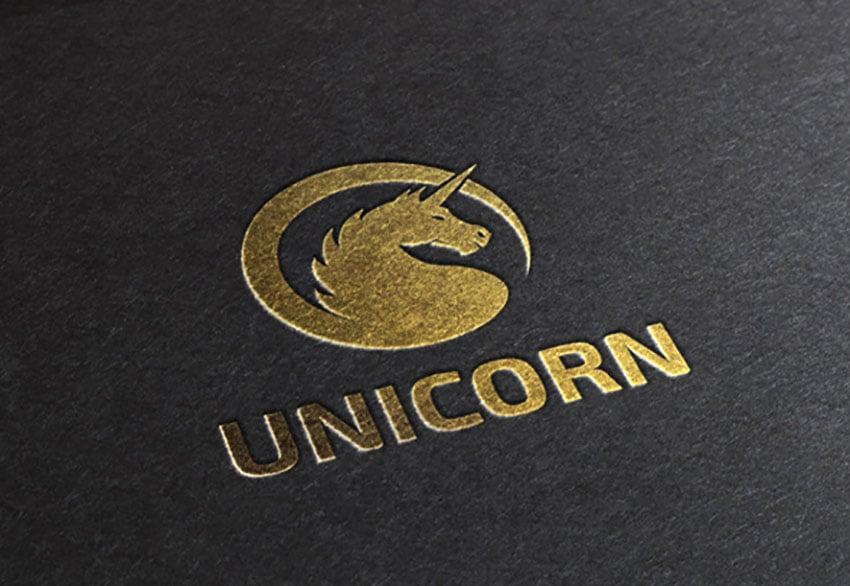 Unicorn All Gold Logo Template