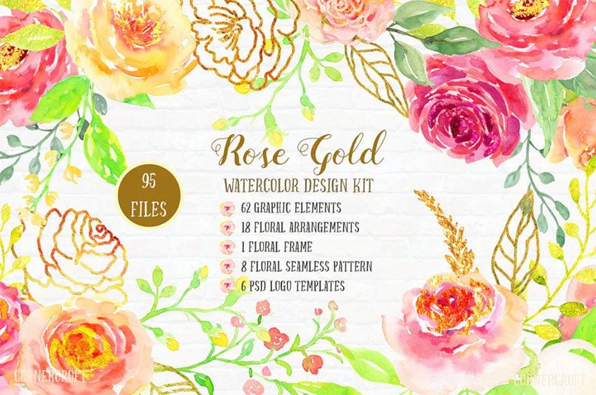 Watercolor Rose Gold Invitation Background