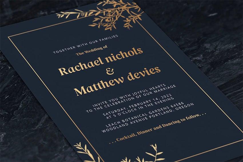 Elegant Foil Leaves Wedding Invitations