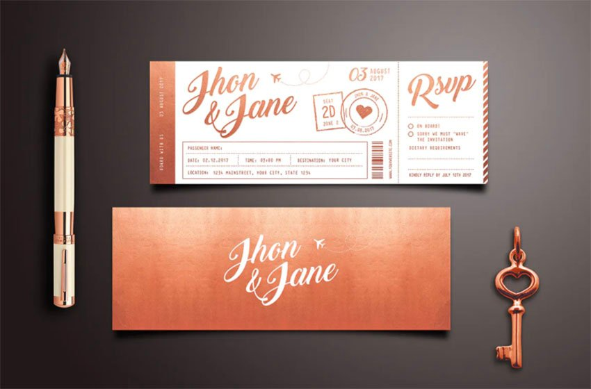 Elegant Gold Wedding Invitation Ticket