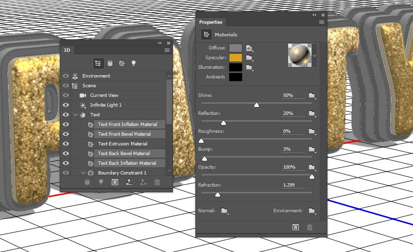 Text Front and Bevel Material Settings