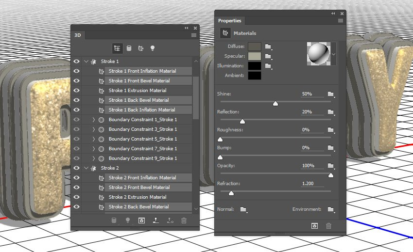 Stroke Inflation and Bevel Material Settings