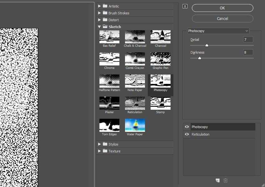 Photocopy Filter Settings