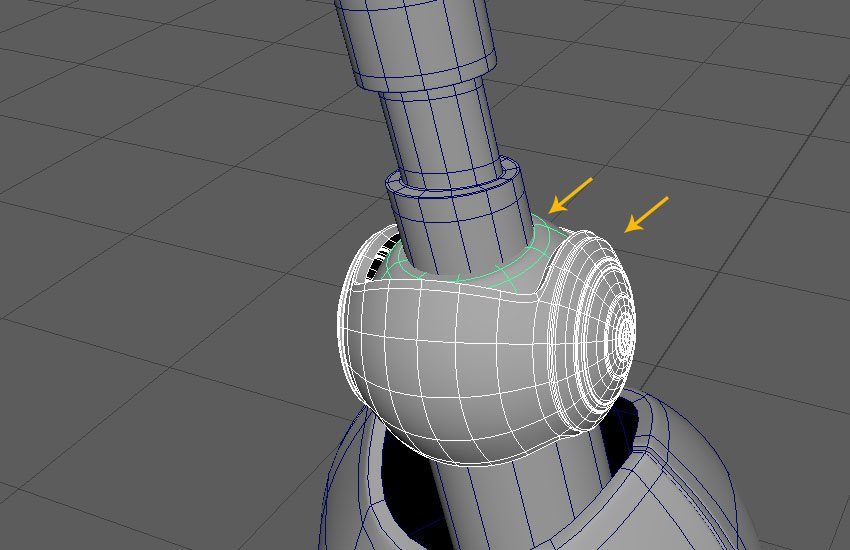 Select the knee ball meshes
