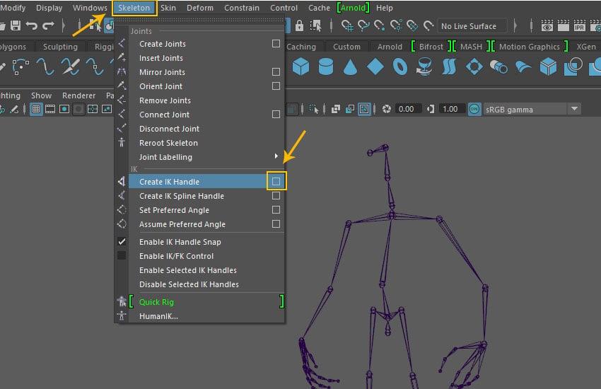 Skeleton  Create IK Handle