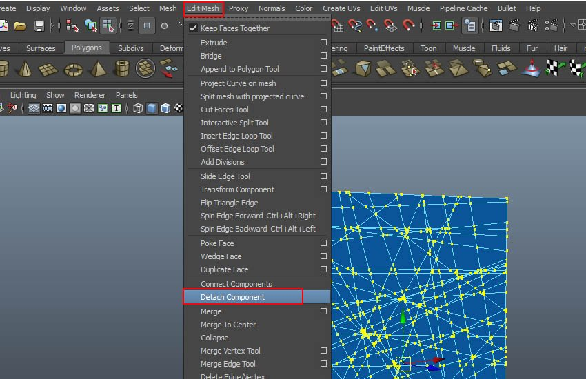 Edit Mesh Detach Component