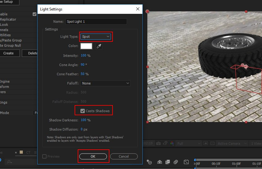 Create a Spot Light with Shadow option enabled
